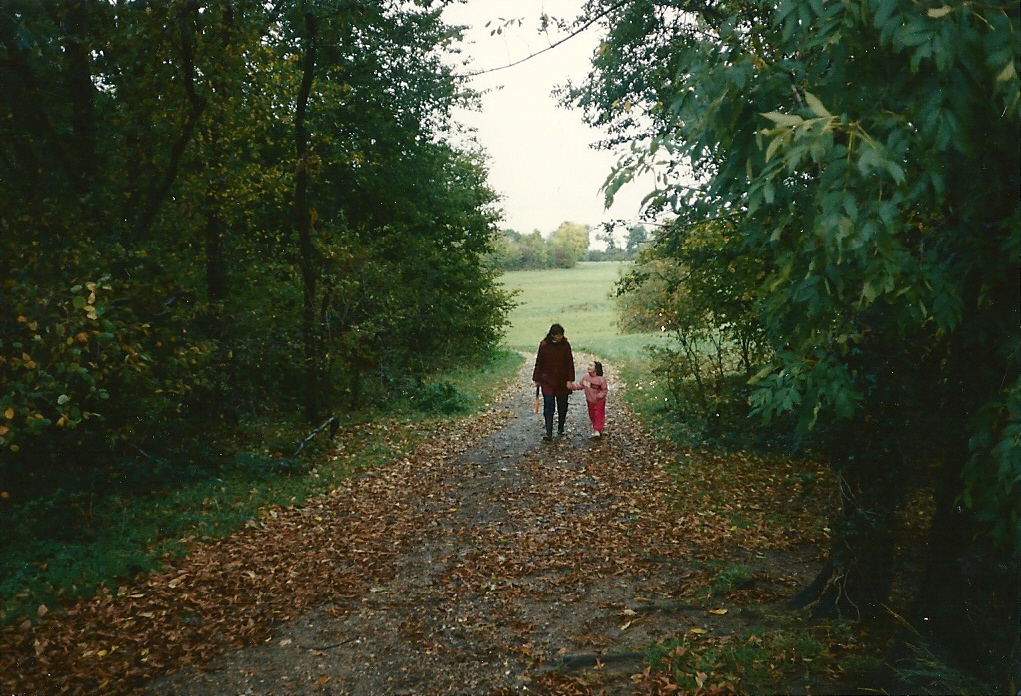 Woman and child walking along forest path