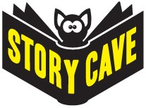 Logo for Story Cave. Picture of a bat with the words Story Cave