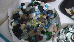 Photo of a bowl of marbles and stones