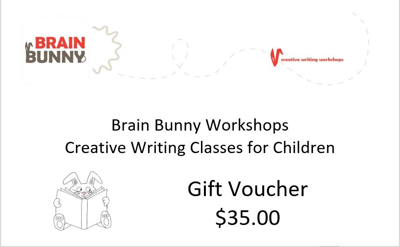 """Image contains: The Brain Bunny Workshops logo, the text """"Brain Bunny Workshops Creative Writing Classes for Children Gift Voucher $35"""" and a cartoon drawing of a rabbit reading a book."""